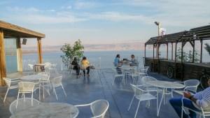 restaurant outdoor seating next to Dead Sea beach