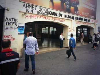 "Graffiti above the train station in Karaköy, Istanbul reads: ""Ahmet Atakan is immortal""."