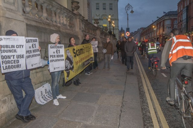 Paul Murphy MEP & protestors outside Dublin's City Hall