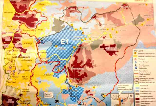 Map of E1 - east Jerusalem to the left, Israeli settlements to the right.