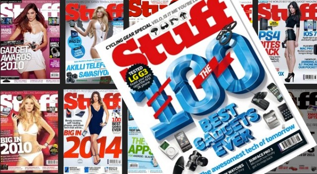 The August cover of Stuff (back: some of it's 18 years of 'bikini' covers).