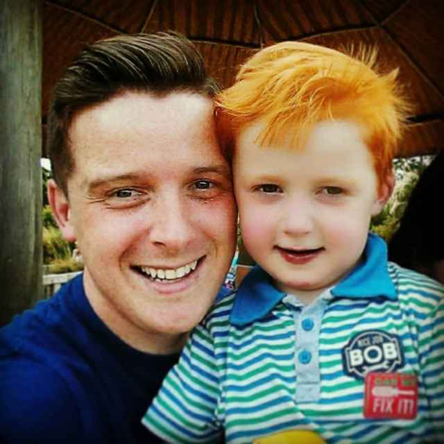 Cian O'Daly and his son Henry.