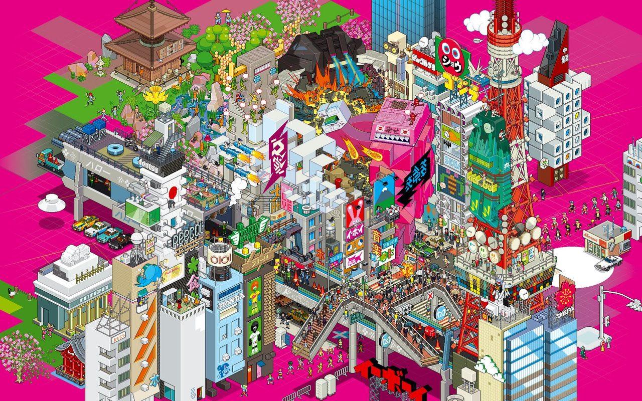Eboy-Tokyo-Wallpaper-XL-DeepPink