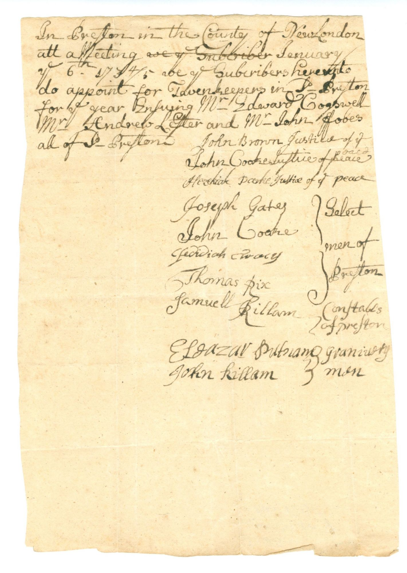 A Collection Of Twenty Five Early American Tavern Licenses And Related Documents From Southern
