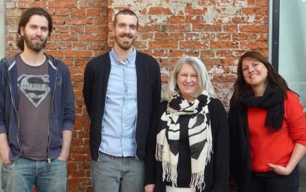 (v.r.n.l) Kristin Neugebauer (Lektorin), Ulrike Fischer (Buchpatin), Nils Andersen (Illustrator) und ich