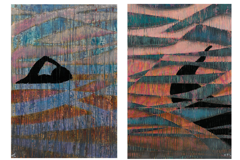 "Giovanni Spezzacatena - Rabideye Fine art ""Alba Rossa"" diptych 12""x16""x2"" times 2 on cradled wood panel - mixed media  $350 for both"