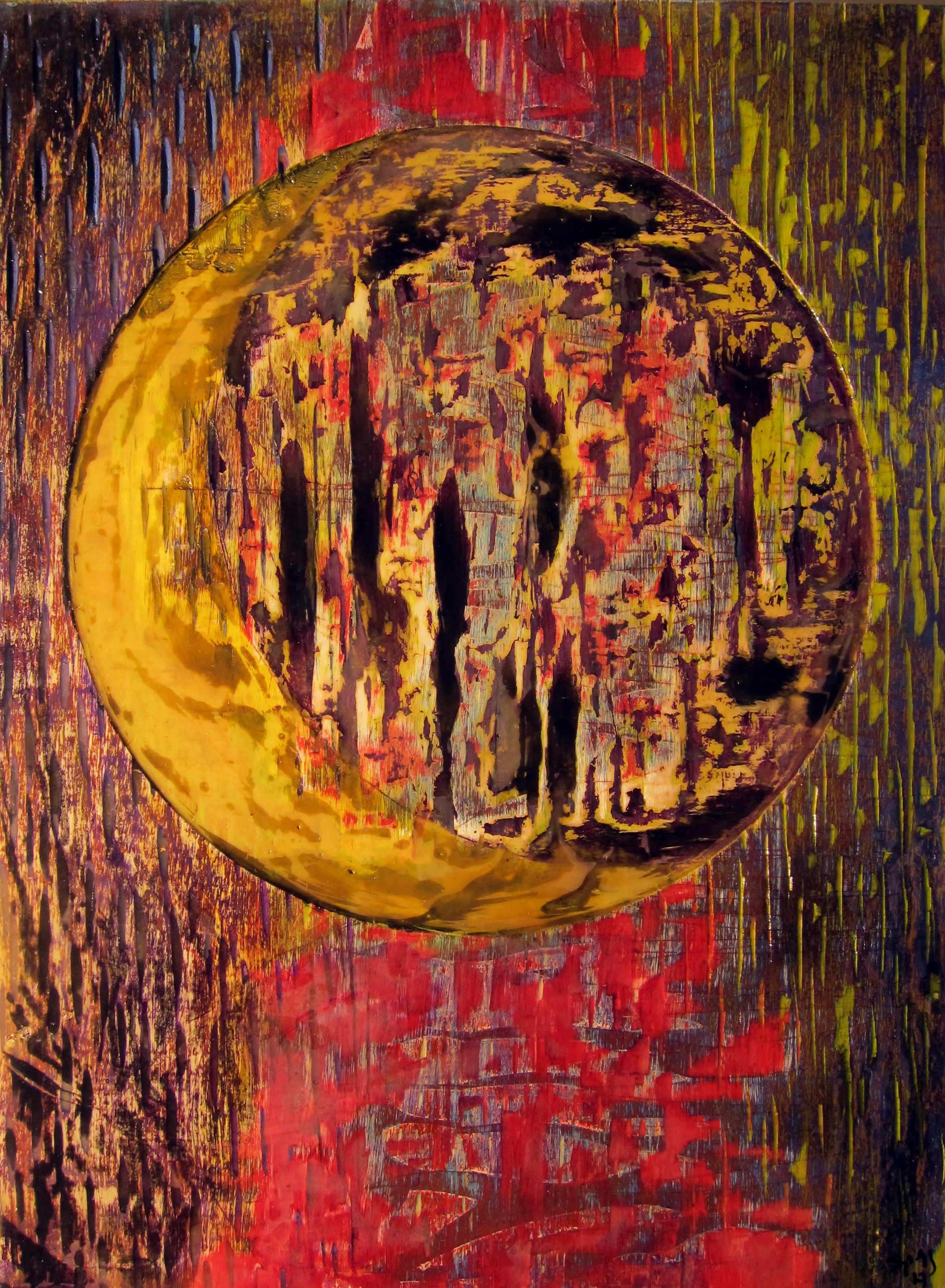 "Giovanni Spezzacatena - Rabideye Fine art ""Moon Over Scarlet Willows"" 12""x16""x2"" on cradled wood panel - mixed media $140"