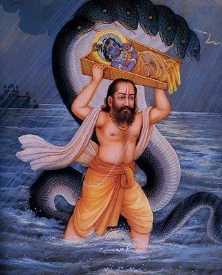 Krishna's father Bashudev crossing the river under the protection of Sesh Nag
