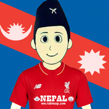 Liverpool FC Fan From Nepal - With Stripe Moon and Sun - With Star and Moon on Jersey - JPEG