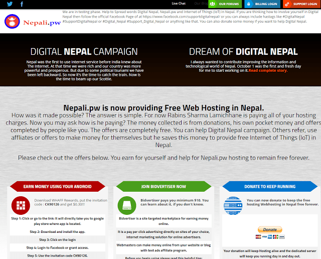 Nepali.pw, free web hosting in Nepal as a part of Digital Nepal Campaign
