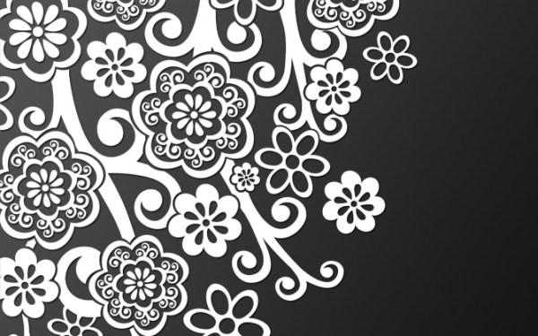 Черно-белые абстрактные цветы обои для рабочего стола ...