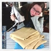 2018-03-07 - Racaire - ironing for block printing project - medieval block print - SCA - Kingdom of Meridies