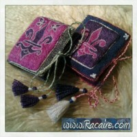 Needle books with 14th century inspired Fleur-de-Lis embroidery worked in Klosterstich