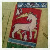 Racaire - Working at an embroidered 14th century pouch for the 9th blog-birthday raffle .9 - Unicorn finished! :D
