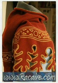 medieval hand embroidered 14th century hood - daggings , decorative chain stitch embroidery , long liripipe