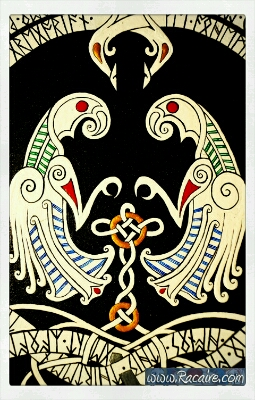2016-09_Racaire_Kails_viking-knighting-scroll_coat-of-arms-ravens_1