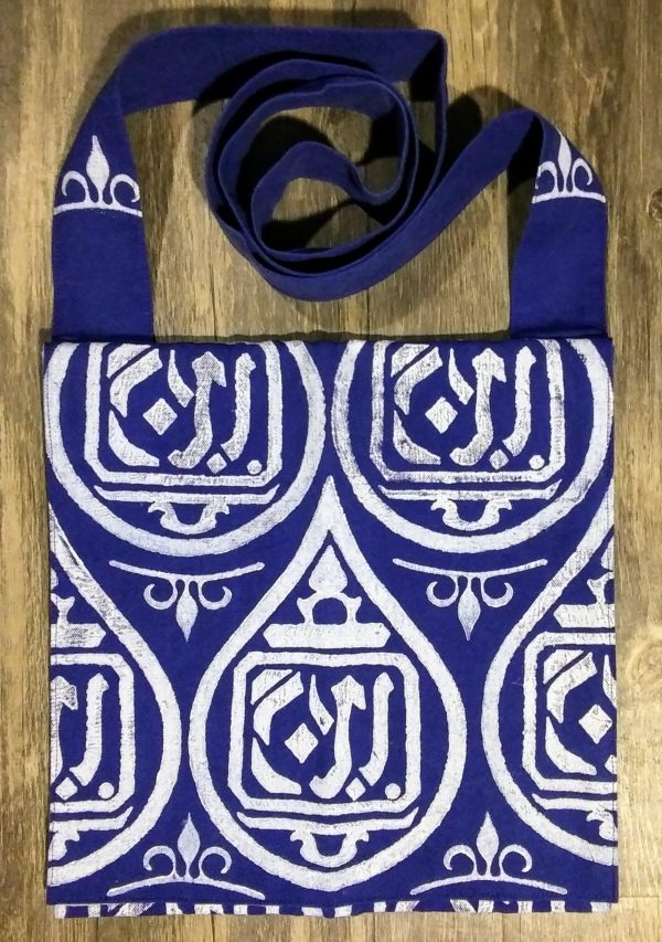 "Bag made from blue cotton canvas, lined with white cotton fabric & hand printed in white with a hand carved 12th - 14th century ""Arabic text"" stamp."
