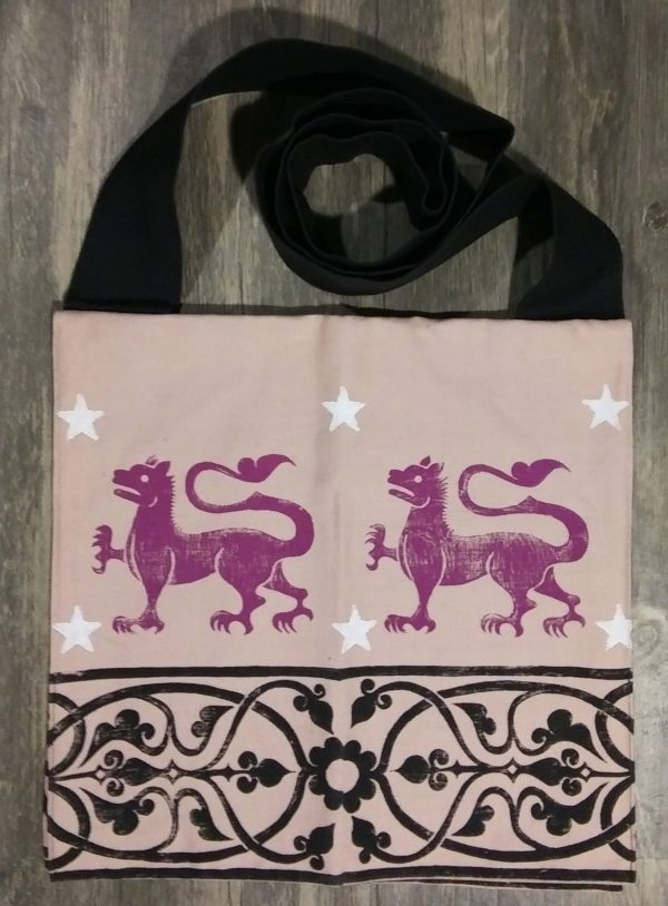 Bag made from pink and black cotton canvas, lined with black cotton fabric & hand printed with hand carved 13th century rampant lion & decorative border stamp.