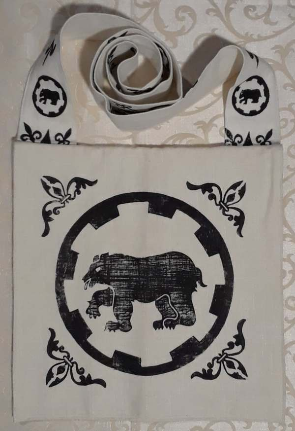 Bag made from heavy cotton fabric, lined, printed with hand carved Legion of the Bear/Legio Ursi print in black.