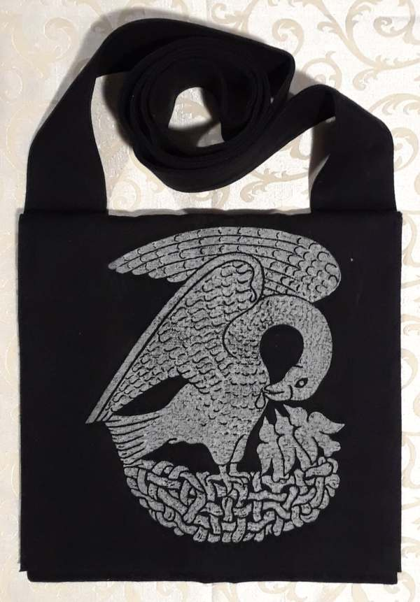 Bag made from night black Japanese selvedge bull cotton denim, lined, printed with a hand carved 15th century Pelican stamp.