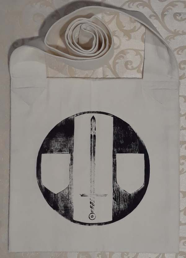 Bag made from heavy cotton fabric, lined, printed with hand carved Legion of the Bear / Legio Ursi print on the front and a Sable Sword print on the back.