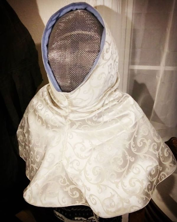 Reversible hood / SCA fencing mask hood cover with a white and a blue side, lined with cotton canvas for extra safety, hood is completely reversible
