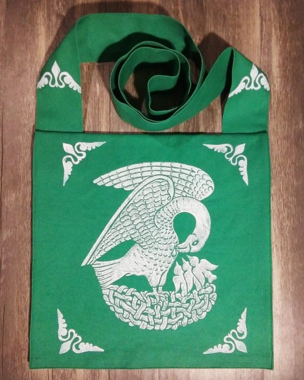 Pelican bag made from green cotton canvas, lined with white cotton fabric & printed with a hand carved 15th century Pelican stamp in white.