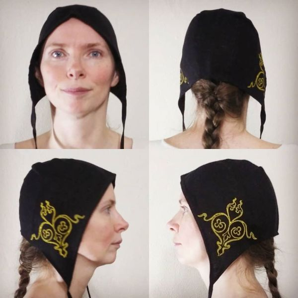 Medium size linen coif/arming cap made from lovely black linen fabric, handprinted in yellow with a handcut stamp inspired by 12th century goldwork embroidery. Machine washable!