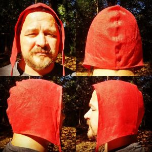 Unprinted XXLarge red linen coif/arming cap made from lovely red linen fabric. Ready to wear, pre-washed linen, machine washable!