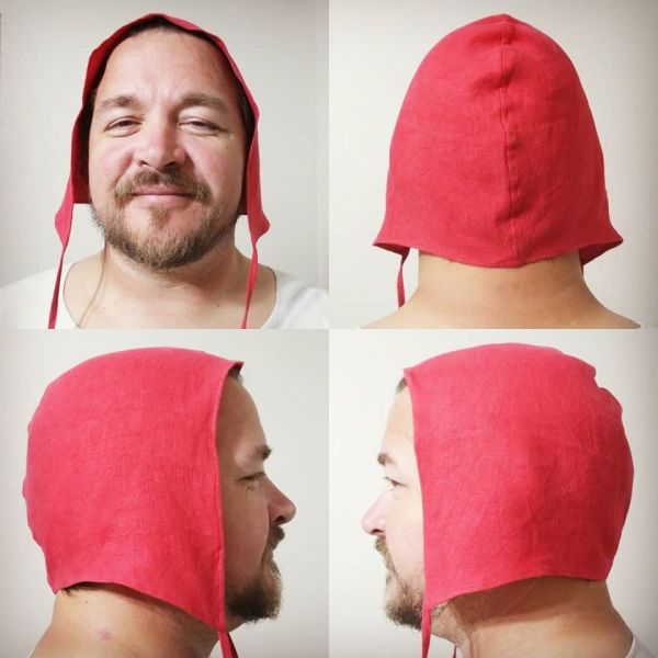 Unprinted XLarge red linen coif/arming cap made from lovely red linen fabric. Ready to wear, pre-washed linen, machine washable!