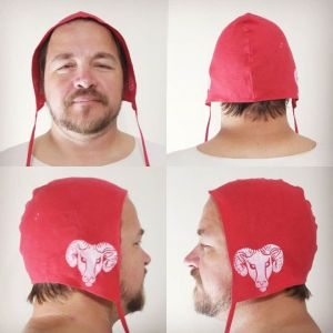 L size red linen coif / arming cap made from nice red linen, printed by hand in white with a handcut ram head stamp. Ready to wear and machine washable!
