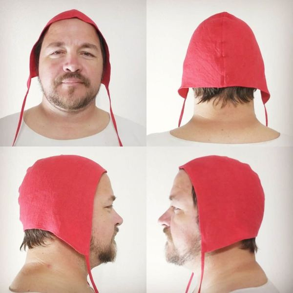 Unprinted Large red linen coif/arming cap made from lovely red linen fabric. Ready to wear, pre-washed linen, machine washable!