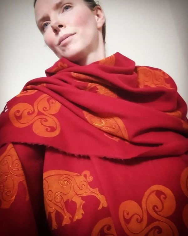 Red soft scarf with boar & triskele print. Hand printed with hand carved stamps. The boar & triskele scarf is new, pre-washed, ready to wear & machine washable!