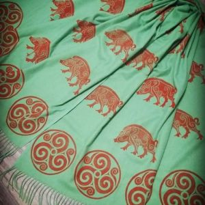 Green soft scarf with boar & triskele print. Hand printed with hand carved stamps. The boar & triskele scarf is new, pre-washed, ready to wear & machine washable!