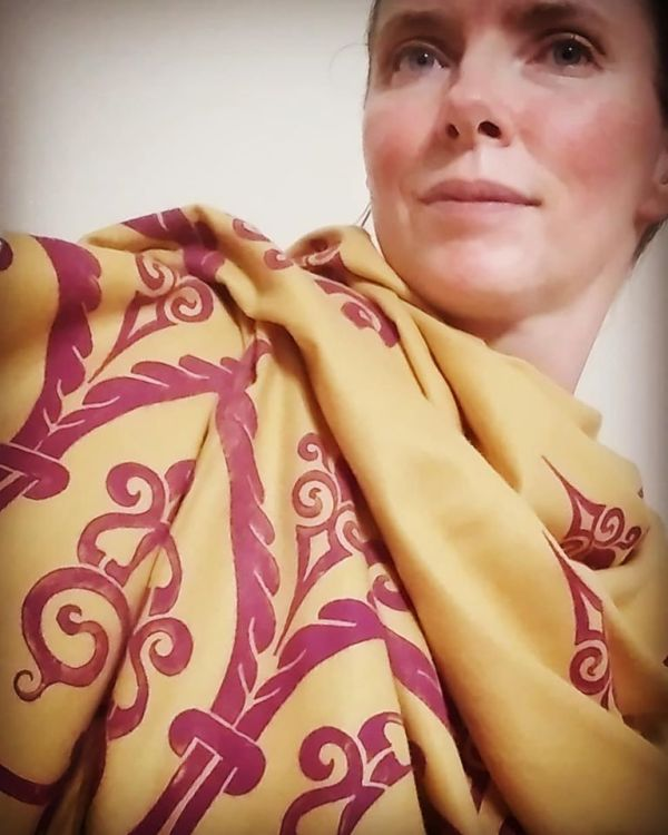 Soft, cozy & warm yellow scarf with magenta 12th century print. Hand printed with my own hand carved stamps. The scarf is new, pre-washed, ready to wear & machine washable!