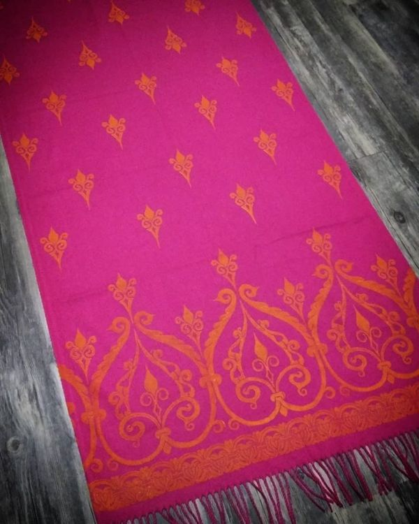 Soft, cozy & warm pink scarf with yellow 12th century print. Hand printed with my own hand carved stamps. The scarf is new, pre-washed, ready to wear & machine washable!