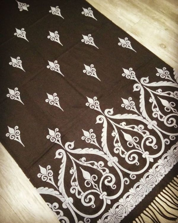 Soft, cozy & warm black scarf with white 12th century print. Hand printed with my own hand carved stamps. The scarf is new, pre-washed, ready to wear & machine washable!