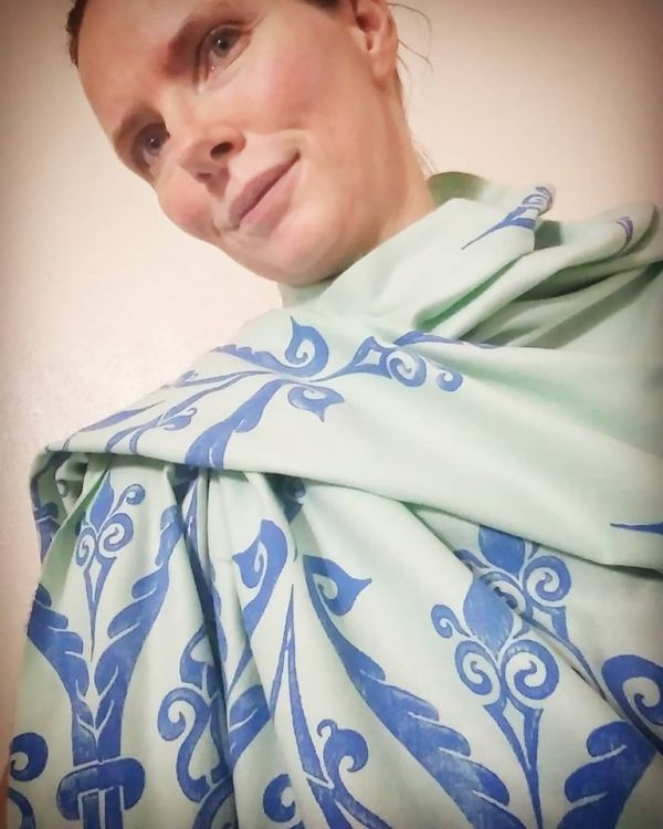 Soft, cozy & warm mint green scarf with blue 12th century print. Hand printed with my own hand carved stamps. The scarf is new, pre-washed, ready to wear & machine washable!