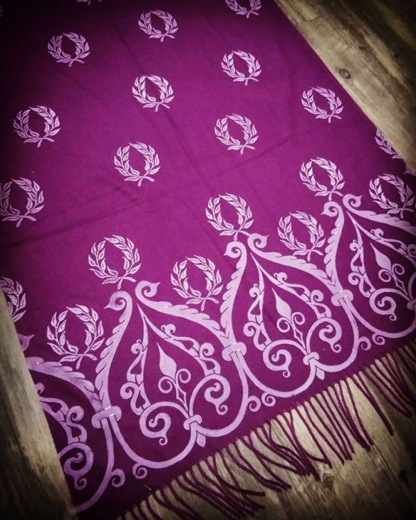 Soft, cozy & warm magenta scarf with white 12th century & laurel wreath print. Hand printed with my own hand carved stamps. The scarf is new, pre-washed, ready to wear & machine washable!