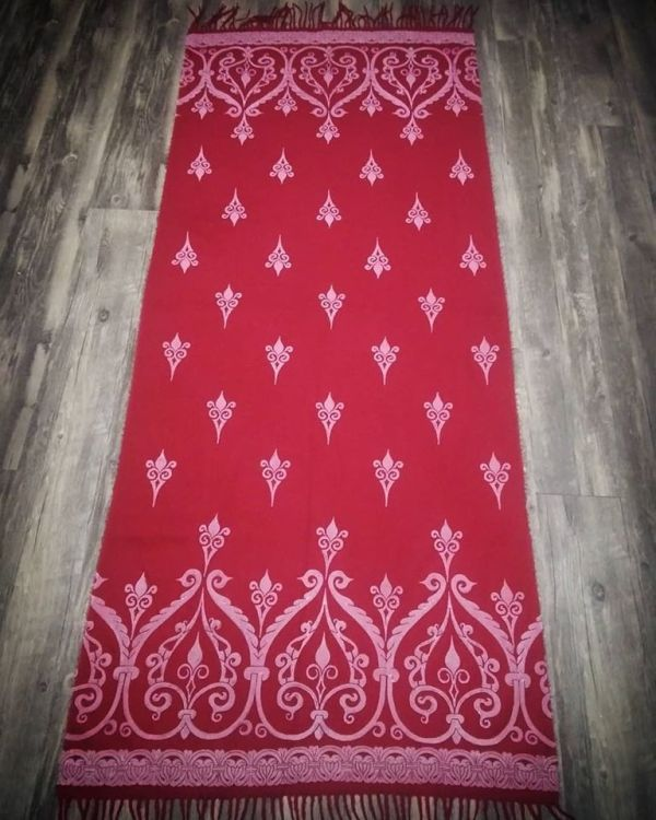 Soft, cozy & warm dark red scarf with white 12th century print. Hand printed with my own hand carved stamps. The scarf is new, pre-washed, ready to wear & machine washable!