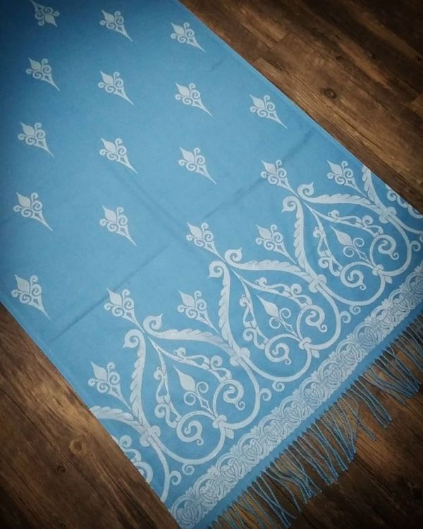 Soft, cozy & warm sky blue scarf with white 12th century print. Hand printed with my own hand carved stamps. The scarf is new, pre-washed, ready to wear & machine washable!