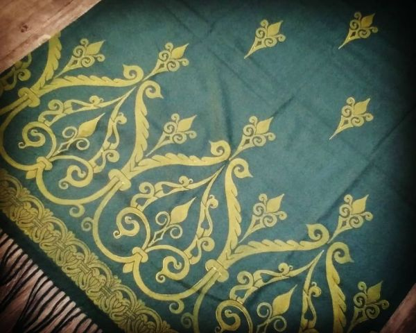 Soft, cozy & warm dark green scarf with yellow 12th century print. Hand printed with my own hand carved stamps. The scarf is new, pre-washed, ready to wear & machine washable!