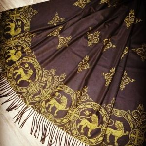 Soft, cozy & warm black scarf with yellow 12th century lion print. Hand printed with my own hand carved stamps. New scarf, pre-washed, ready to wear & machine washable!