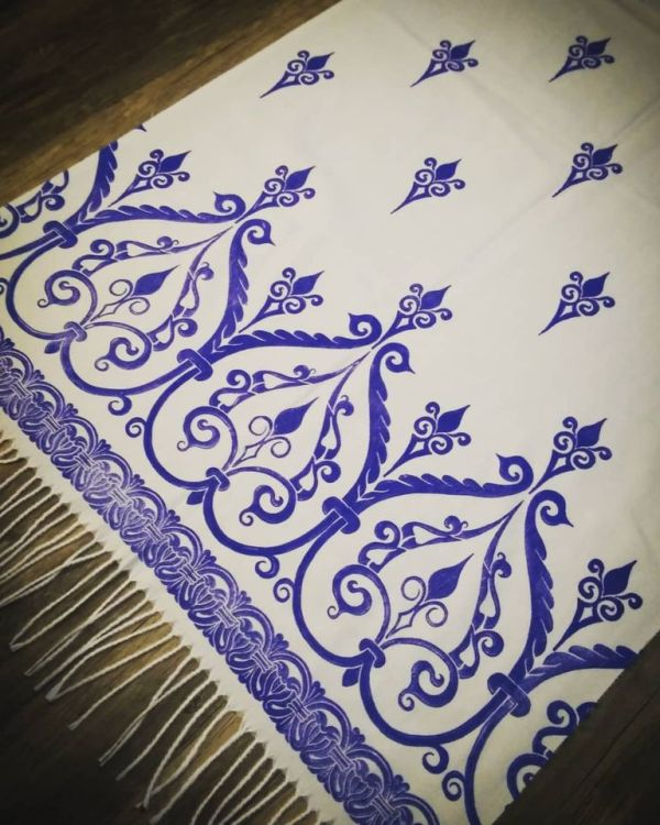 Soft, cozy & warm white scarf with blue 12th century print. Hand printed with my own hand carved stamps. New scarf, pre-washed, ready to wear & machine washable!