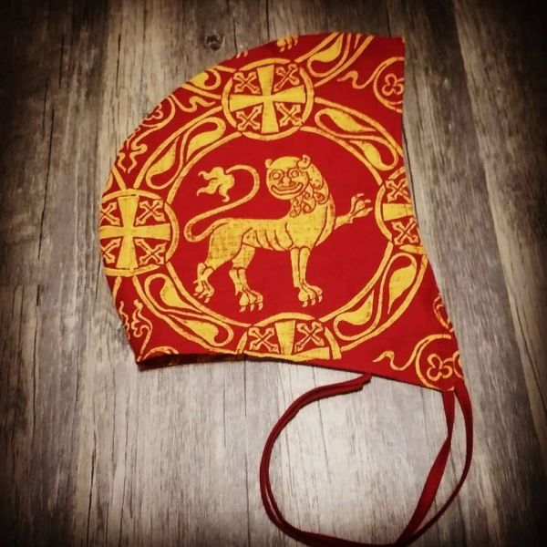 Large size linen coif/arming cap made from red linen fabric and hand printed with my own hand carved 12th century inspired/based stamps. New, pre-washed, ready to wear & machine washable!