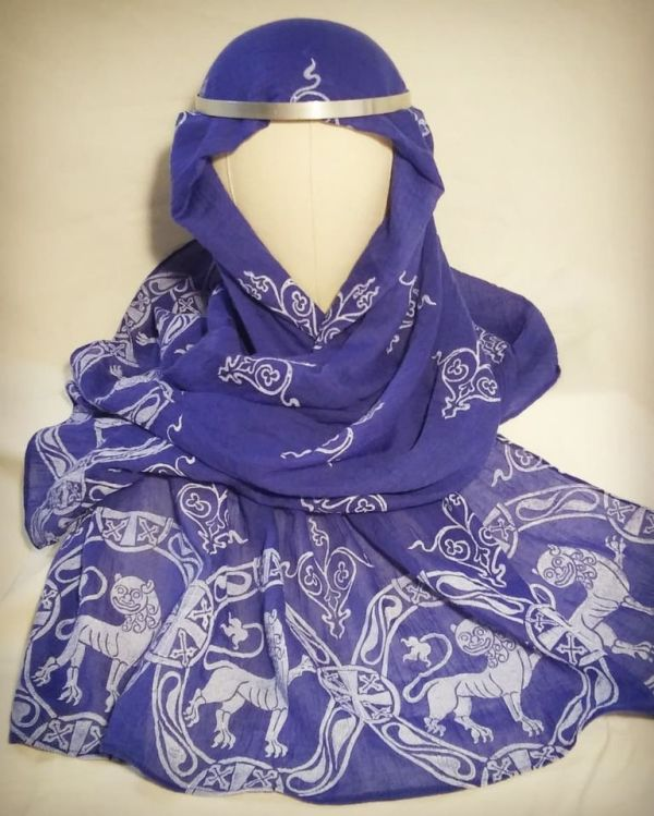 Soft, light weight blue scarf with white 12th century lion print for a medieval experience all year long! Hand printed with my own hand carved stamps. The scarf is new, pre-washed, ready to wear & machine washable!
