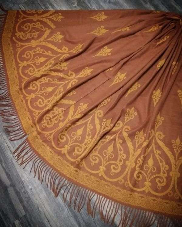 Wearable art - soft, cozy & warm brown scarf with yellow 12th century print. Hand printed with my own hand carved stamps for a medieval experience all year long. The scarf is new, pre-washed, ready to wear & machine washable!