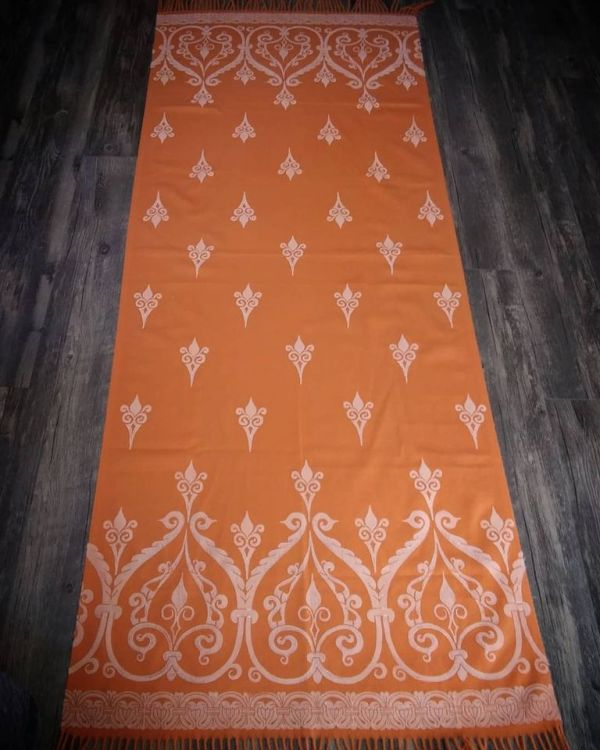 Wearable art! soft, cozy & warm orange scarf with white 12th century print. Hand printed with my own hand carved stamps for a medieval experience all year long. The scarf is new, pre-washed, ready to wear & machine washable!