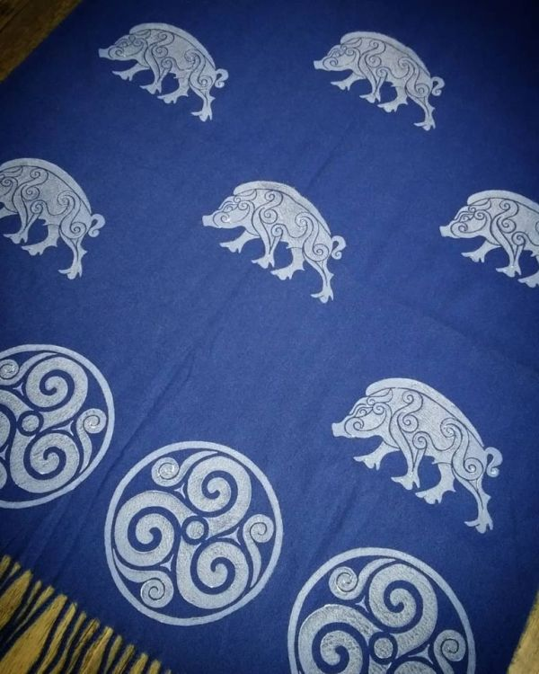 Blue soft scarf with white boar & triskele print. Hand printed with my own hand carved stamps. The boar & triskele scarf is new, pre-washed, ready to wear & machine washable!