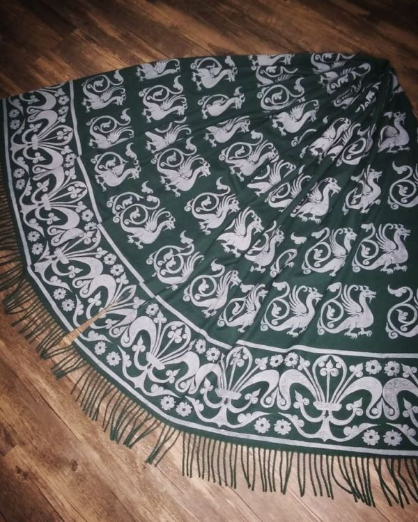 Wearable art in form of a soft & cozy dark green scarf with 13th century dragon and fleur-de-lis print. Hand printed in white with my own hand carved stamps. New scarf, pre-washed, ready to wear & machine washable!